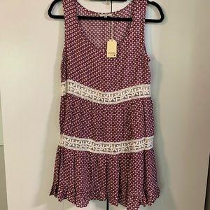 Jodifl NWT sleeveless peasant dress in red